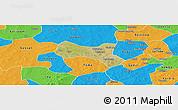 Satellite Panoramic Map of Yaba, political outside