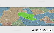 Political Panoramic Map of Ye, semi-desaturated