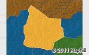 Political 3D Map of Kantchari, darken