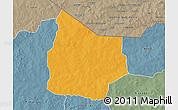 Political 3D Map of Kantchari, semi-desaturated