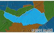 Political 3D Map of Logobou, darken