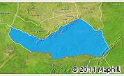 Political 3D Map of Logobou, satellite outside