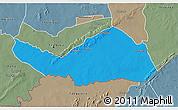 Political 3D Map of Logobou, semi-desaturated
