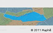 Political Panoramic Map of Logobou, semi-desaturated