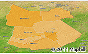 Political Shades Panoramic Map of Tapoa, satellite outside