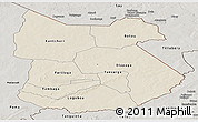 Shaded Relief Panoramic Map of Tapoa, semi-desaturated