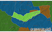 Political 3D Map of Tambaga, darken