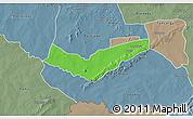 Political 3D Map of Tambaga, semi-desaturated