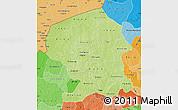 Physical Map of Yatenga, political shades outside