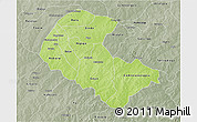 Physical 3D Map of Zoundweogo, semi-desaturated