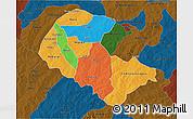Political 3D Map of Zoundweogo, darken