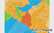 Political 3D Map of Zoundweogo, political shades outside