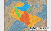 Political 3D Map of Zoundweogo, semi-desaturated