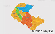Political 3D Map of Zoundweogo, single color outside
