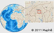 Shaded Relief Location Map of Manga