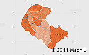 Political Shades Map of Zoundweogo, single color outside