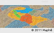 Political Panoramic Map of Zoundweogo, semi-desaturated