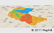 Political Panoramic Map of Zoundweogo, shaded relief outside