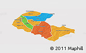 Political Panoramic Map of Zoundweogo, single color outside