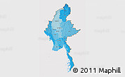 Political Shades 3D Map of Burma, cropped outside