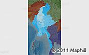 Political Shades 3D Map of Burma, darken