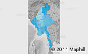 Political Shades 3D Map of Burma, desaturated