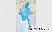 Political Shades 3D Map of Burma, lighten
