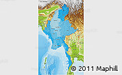 Political Shades 3D Map of Burma, physical outside