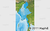 Political Shades 3D Map of Burma, satellite outside, bathymetry sea