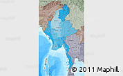 Political Shades 3D Map of Burma, semi-desaturated, land only