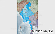 Political Shades 3D Map of Burma, semi-desaturated