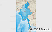 Political Shades 3D Map of Burma, shaded relief outside, bathymetry sea