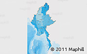 Political Shades 3D Map of Burma, single color outside