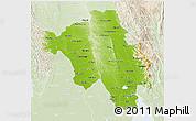 Physical 3D Map of Bago (Pegu), lighten