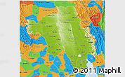 Physical 3D Map of Bago (Pegu), political outside