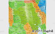 Physical 3D Map of Bago (Pegu), political shades outside