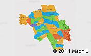 Political 3D Map of Bago (Pegu), cropped outside