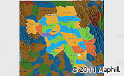 Political 3D Map of Bago (Pegu), darken