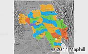 Political 3D Map of Bago (Pegu), desaturated