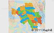 Political 3D Map of Bago (Pegu), lighten