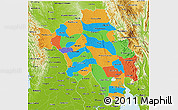 Political 3D Map of Bago (Pegu), physical outside