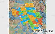 Political 3D Map of Bago (Pegu), semi-desaturated