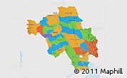 Political 3D Map of Bago (Pegu), single color outside