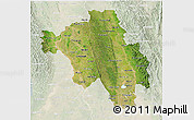 Satellite 3D Map of Bago (Pegu), lighten