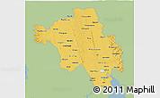 Savanna Style 3D Map of Bago (Pegu), single color outside