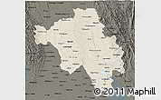 Shaded Relief 3D Map of Bago (Pegu), darken