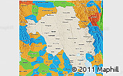 Shaded Relief 3D Map of Bago (Pegu), political outside