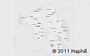 Silver Style 3D Map of Bago (Pegu), single color outside