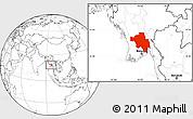 Blank Location Map of Bago (Pegu)