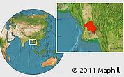 Satellite Location Map of Bago (Pegu)